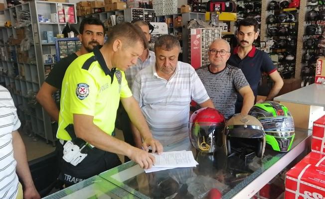 Motosiklet aksesuarı satan işyerleri denetlendi