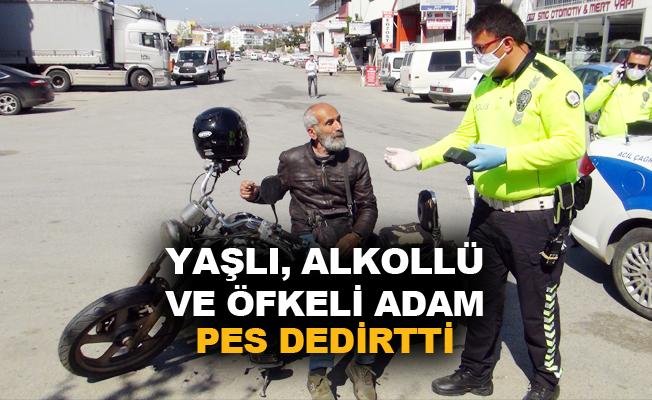 Motosiklet sürücüsü yaşlı ve alkollü adama toplam 8 bin 694 TL ceza uygulandı
