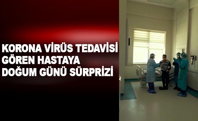 Korona virüs tedavisi gören hastaya doğum günü sürprizi