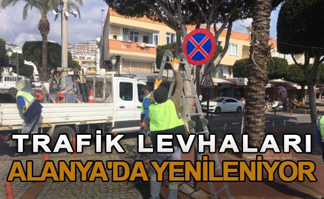 Trafik levhaları Alanya'da yenileniyor