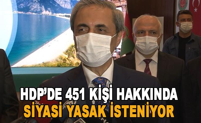 HDP'de 451 kişi hakkında siyasi yasak isteniyor