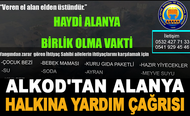 ALKOD'tan Alanya halkına yardım çağrısı