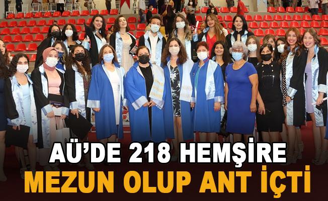 AÜ'de 218 hemşire mezun olup ant içti