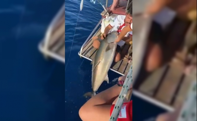 Boyu kadar balığı oltayla avlayan gencin sevinci kameralara yansıdı