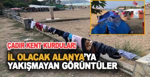 Turistik plajlar çadır kente dönüştü