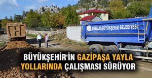 Büyükşehir'in Gazipaşa yayla yollarında çalışması sürüyor
