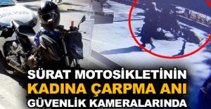 Sürat motosikletinin kadına çarpma anı güvenlik kameralarında