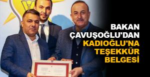 Bakan Çavuşoğlu'dan Kadıoğlu'na teşekkür belgesi