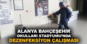 Alanya Bahçeşehir Okulları Stadyumu'nda dezenfeksiyon çalışması
