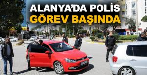 Alanya'da polis görev başında