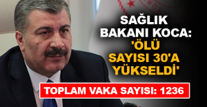 Sağlık Bakanı Koca: 'Ölü sayısı 30'a yükseldi'