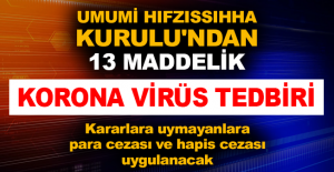 Umumi Hıfzıssıhha Kurulu'ndan 13 maddelik Korona virüs tedbiri