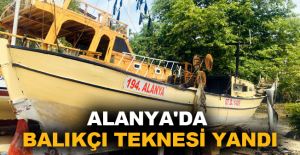 Alanya'da balıkçı teknesi yandı