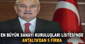 En Büyük Sanayi Kuruluşları Listesinde Antalya'dan 5 Firma