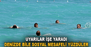 Uyarılar işe yaradı, denizde bile sosyal mesafeli yüzdüler
