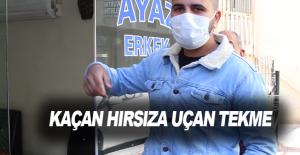 Antalya'da kaçan hırsıza uçan tekme