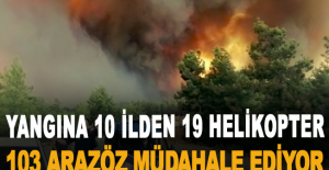 Manavgat'taki yangına 10 ilden 19 helikopter 103 arazöz müdahale ediyor