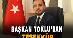 Başkan Toklu'dan teşekkür