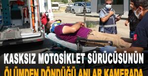 Kasksız motosiklet sürücüsünün ölümden...