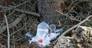4 hektarlık alanın kül olduğu ormanda pet, cam şişe ve poşet atıkları